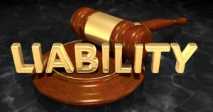 image of a gavel with the word liability written across it