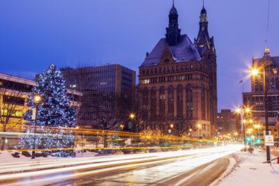 Winter in the center of Milwaukee. Milwaukee, Wisconsin, USA.